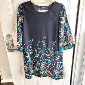 Shein Navy floral Rayon women's dress. Size M